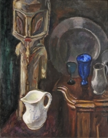 Still-life with white jar and a GES statue from New Iereland (Papoua New Guinee)