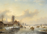 Winterlandscape with ice skating figures (left village, in the middle dog)