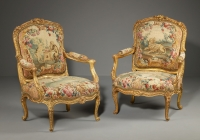 Pair of Louis XV gilt-wood Armchairs from the Waterford Suite, Jean Jacques Tilliard