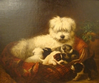 Henriëtte Ronner-Knip, painting of a Dog with pups - Henriette Ronner-Knip