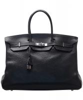Hermès Black Clemence Birkin 40 Bag PHW - Hermès