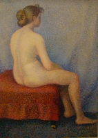 A Pointilist painting of a nude by Yvonne Serruys
