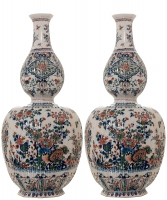A Pair Dutch Delft Cashmere Double-Gourd-Shaped Vases