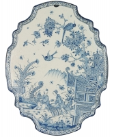 An Oval Plaque in Blue and White Dutch Delftware