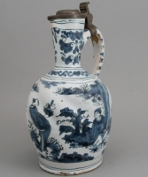 A Dutch Delft Ewer with Pewter Lid