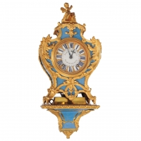 A French Regency Ormolu-Mounted Blue Horn Clock on Wall Bracket, Julien Le Roy circa 1735
