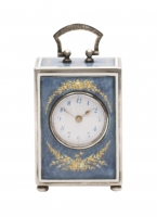 A Swiss silver miniature translucent enamel travel clock, circa 1920