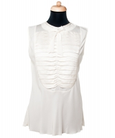 Chanel White Silk Sleeveless Pleated Bow Blouse - Chanel