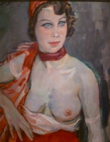 Nude with red baret and veil