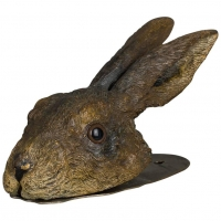 An extremely rare hare head wall clip  of a  Vienna Bronze, circa 1900