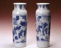 Chinese Transitional periode blauw wit porselein rolwagen vazen, Ming keramiek uit China