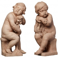 A pair of Dutch terracotta 'putti' sculptures signed by Mathieu de Tombay, circa 1837