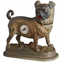 Animated clock within a pug dog, circa 1880