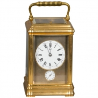 A fine French gilt brass, quarter repeating, corge case carriage clock, circa 1880