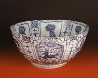 Grote Chinese Wanli periode kraakporselein blauw wit kom, Ming dynastie keramiek uit China
