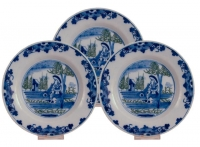 A Set of Three Dishes in Blue and White with Green Dutch Delftware
