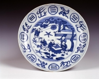 Chinees Keizerlijk Blauw Wit porselein bord, Wanli merk en periode, antieke Ming keramiek uit China
