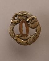 Japanse koperen tsuba in slang vorm, Edo Periode antieke zwaard kunst