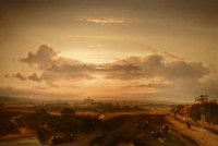 Sunset over landscape, in the distance the city Haarlem