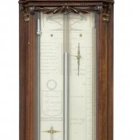 Een Fraaie Hollandse Lodewijk XVI mahonie bakbarometer, P. Wast, circa 1810