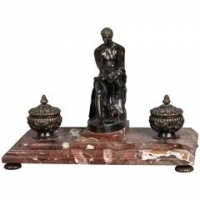 A very imposing 19th century inkwell on the marble base, circa 1860