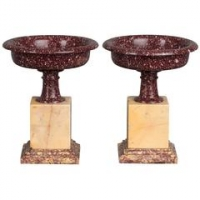 An exceptional pair of probably Egyptian porphyry marble mounted dishes, circa 1830
