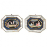 An unusual pair of octagonal paintings on porcelain with Lapis Lazuli, circa 1830