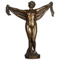 A nice patinated bronze of a nude female lady holding a scarf, circa 1880