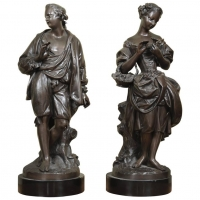 An Elegant Pair of Bronze Figures of a Couple, circa 1880.