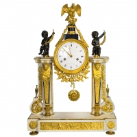 A French 'Louis XVI' Marble, Ormolu and Patinated Bronze Mantel Clock, circa 1780