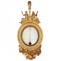 An imposing Dutch carved gilt wood thermometer by Grimaldi, circa 1800