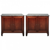 A Pair of French Mahogany Cupboards with Marble Tops, circa 1830