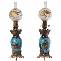 A pair of fine French oriental style cloisonné oil lamps, Barbedienne circa 1880