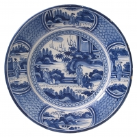 A Dish in Blue and White Dutch Delftware