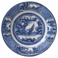 A Plate in Blue and White Dutch Delftware