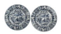 A Pair Blue and White Dutch Delft Dishes