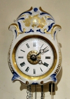 Jockele-Uhr, small Black Forest porcelain clock, striking on a bell, alarm, ca. 1850