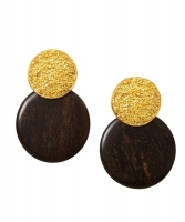 Yves Saint Laurent Wood Disc Dangling Clip On Earrings