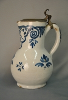 Brussels pottery tankard with the original pewter lid.