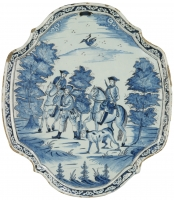 Delfts Blue Plaque with a Hunting Scene