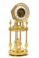 A French Directoire ormolu portico mantel clock, circa 1800