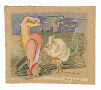 Hannah Höch, Watercolor with ink on paper, titled 'Pat u Patachon', signed 'H.H.', 1920s. - Hannah Höch