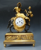 "sculptural mantel clock, ""young Arab rider on mule"", by  Coeur & fils à Paris, Directoire, circa 1795-1800."