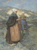 Two woman mending the nets