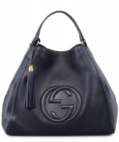 Gucci Navy Blue Soho Leather Shoulder Bag Large
