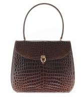 Vintage Brown Crocodile Belly Skin Handbag