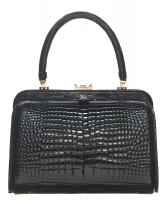 Vintage Black Crocodile Belly Skin Handbag