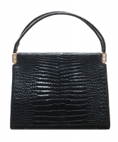 Black Crocodile Belly Skin Handbag