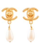Chanel CC Turnlock Pearl Drop Earrings