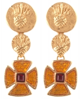 Yves Saint Laurent Maltese Cross Gripoix Cabochon Earrings